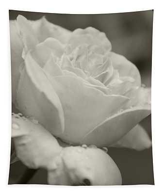 Rose In The Rain Tapestry