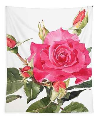 Watercolor Red Rose Margaret Tapestry