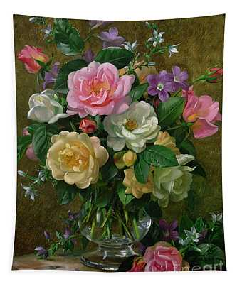Roses In A Glass Vase Tapestry