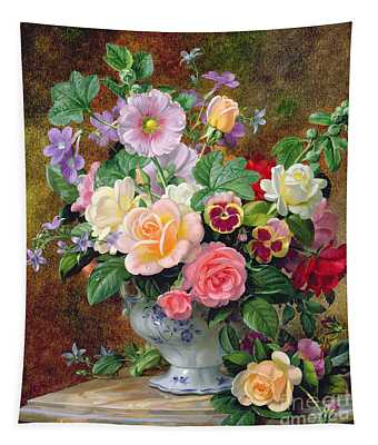 Roses Pansies And Other Flowers In A Vase Tapestry