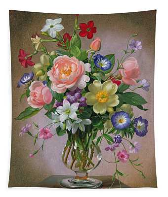 Roses Peonies And Freesias In A Glass Vase Tapestry