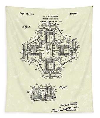 Rotary Engine Valve 1924 Patent Art Tapestry