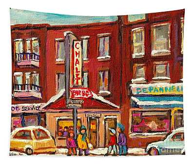Rotisserie Le Chalet Bar B Q Sherbrooke West Montreal Winter City Scene Tapestry