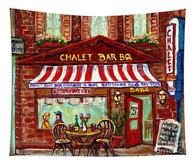 Rotisserie Le Chalet Bbq Restaurant Paintings Storefronts Street Scenes Diners Montreal Art Cspandau Tapestry
