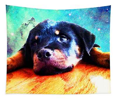 Rottie Puppy By Sharon Cummings Tapestry