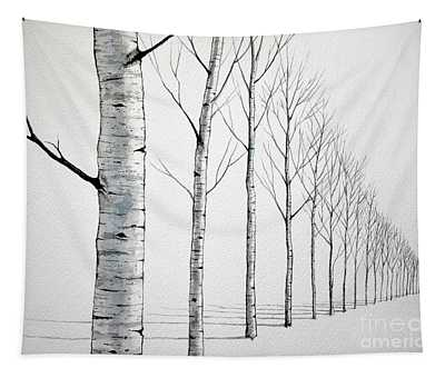 Row Of Birch Trees In The Snow Tapestry