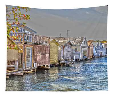 Row Of Boathouses Tapestry