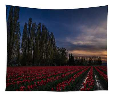 Rows Of Tulips And Tall Trees Tapestry