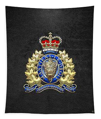 Royal Canadian Mounted Police - Rcmp Badge On Black Leather Tapestry