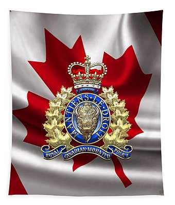 Royal Canadian Mounted Police - Rcmp Badge Over Waving Flag Tapestry