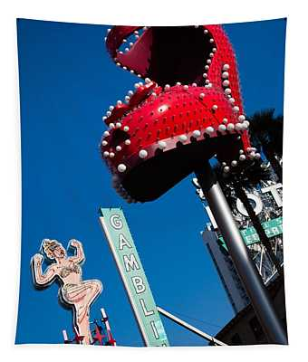 Ruby Slipper Neon Sign In A City, El Tapestry