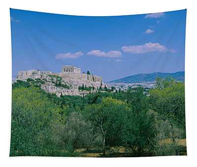 Ruined Buildings On A Hilltop Tapestry