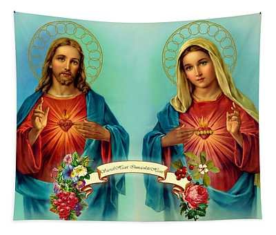 Sacred Heart Immaculate Heart  Tapestry