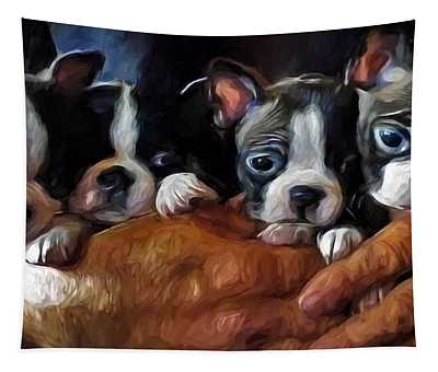 Safe In The Arms Of Love - Puppy Art Tapestry