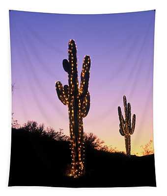 Saguaro Cacti With Christmas Lights Tapestry