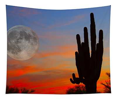 Saguaro Full Moon Sunset Tapestry