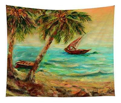Sail Boats On Indian Ocean  Tapestry