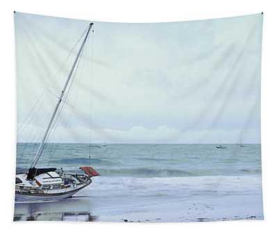Sailboat In Ocean, Santa Barbara, Santa Tapestry