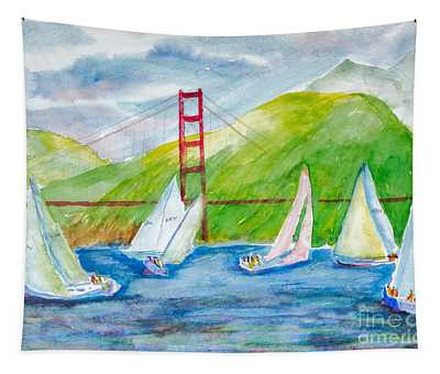Sailboat Race At The Golden Gate Tapestry