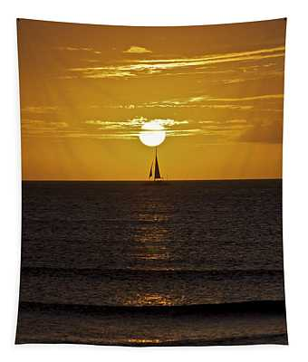 Sailing At Sunset Tapestry