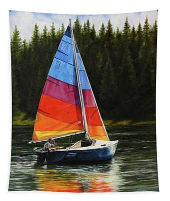 Sailing On Flathead Tapestry