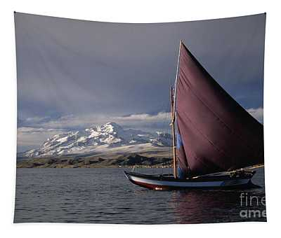 Sailing Boat On Lake Titicaca Tapestry