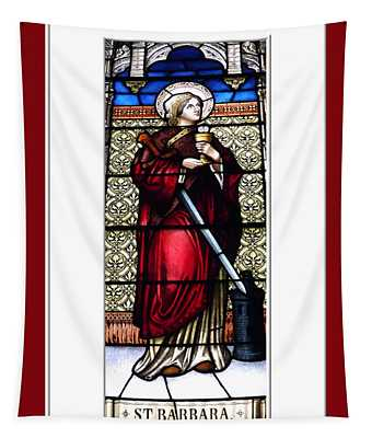 Saint Barbara Stained Glass Window Tapestry