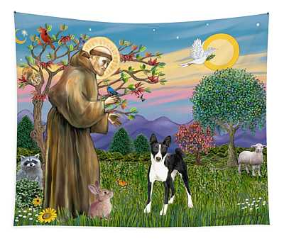 Saint Francis Blesses A Black And White Basenji Tapestry