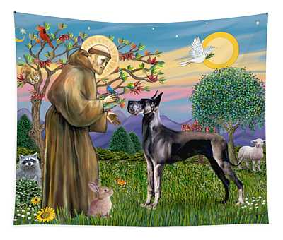 Saint Francis Blesses A Black Great Dane Tapestry
