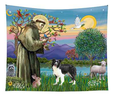 Saint Francis Blesses A Border Collie Tapestry