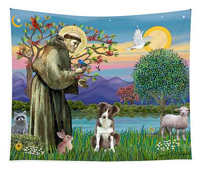 Saint Francis Blesses A Brown And White Border Collie Tapestry