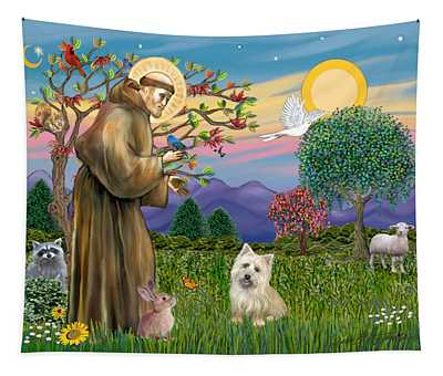 Saint Francis Blesses A Cairn Terrier Tapestry