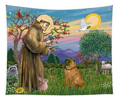Saint Francis Blesses A Chinese Shar Pei Tapestry