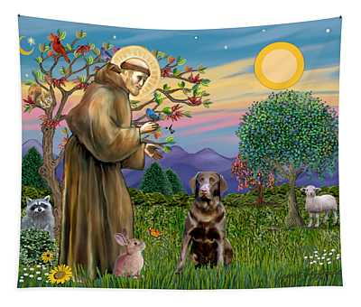 Saint Francis Blesses A Chocolate Labrador Retriever Tapestry