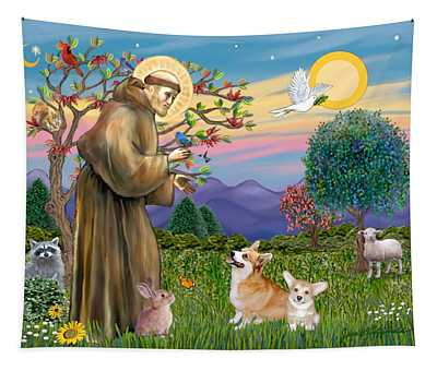 Saint Francis Blesses A Corgi And Her Pup Tapestry