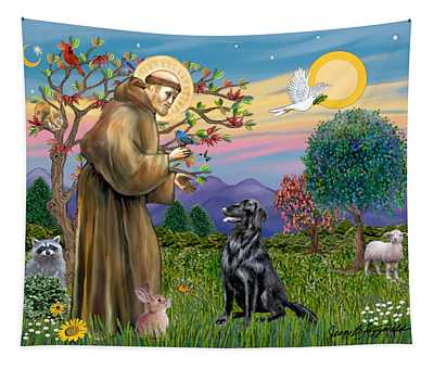 Saint Francis Blesses A Flat Coated Retriever Tapestry