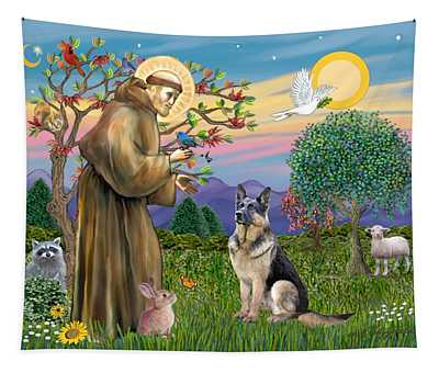 Saint Francis Blesses A German Shepherd Tapestry