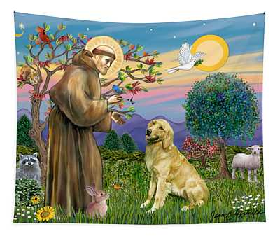 Saint Francis Blesses A Golden Retriever Tapestry