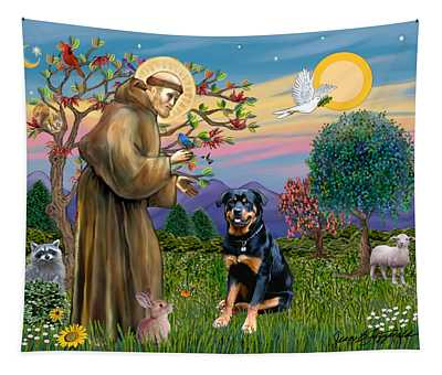 Saint Francis Blesses A Rottweiler Tapestry