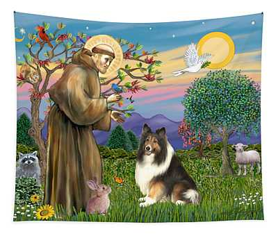 Saint Francis Blesses A Sable And White Collie Tapestry