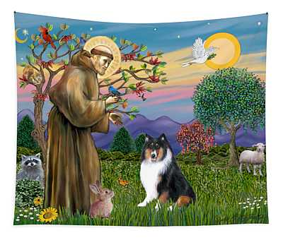 Saint Francis Blesses A Tri Color Collie Tapestry
