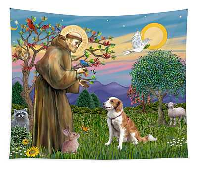 Saint Francis Blesses A Welsh Springer Spaniel Tapestry