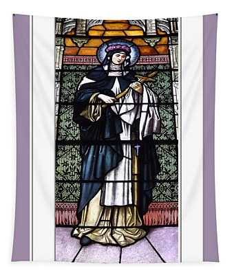 Saint Rose Of Lima Stained Glass Window Tapestry
