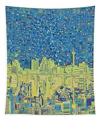 San Antonio Skyline Abstract 4 Tapestry
