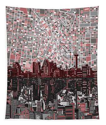 San Antonio Skyline Abstract Tapestry
