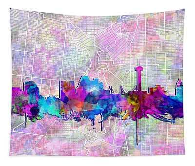 San Antonio Skyline Watercolor 3 Tapestry