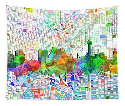 San Antonio Skyline Watercolor 6 Tapestry