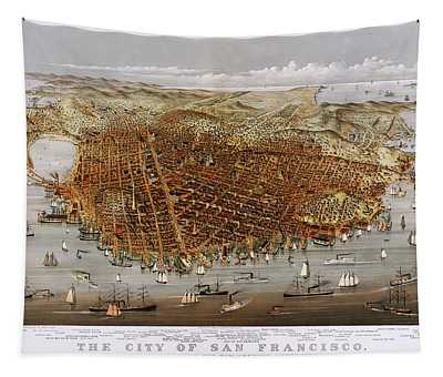 Antique San Francisco Map 1878 Tapestry