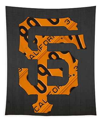 San Francisco Giants Baseball Vintage Logo License Plate Art Tapestry