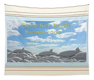 Sand Dolphins - Digitally Framed Tapestry